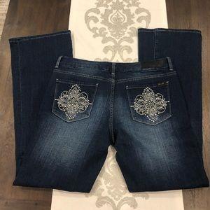 Seven7 size 12 boot cut dark wash embellished jean